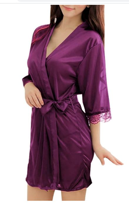 Sidiou Group Night Robe for Women Satin Dressing