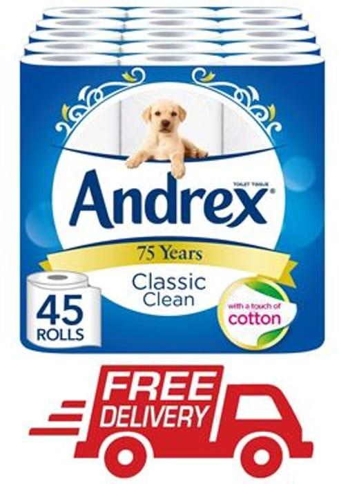 45 ANDREX Classic Clean Toilet Rolls