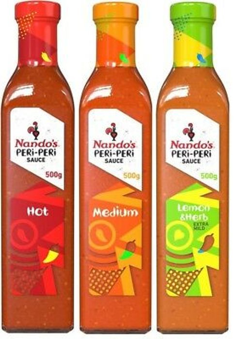 All Varieties of 500g Nando's Peri-Peri Sauce