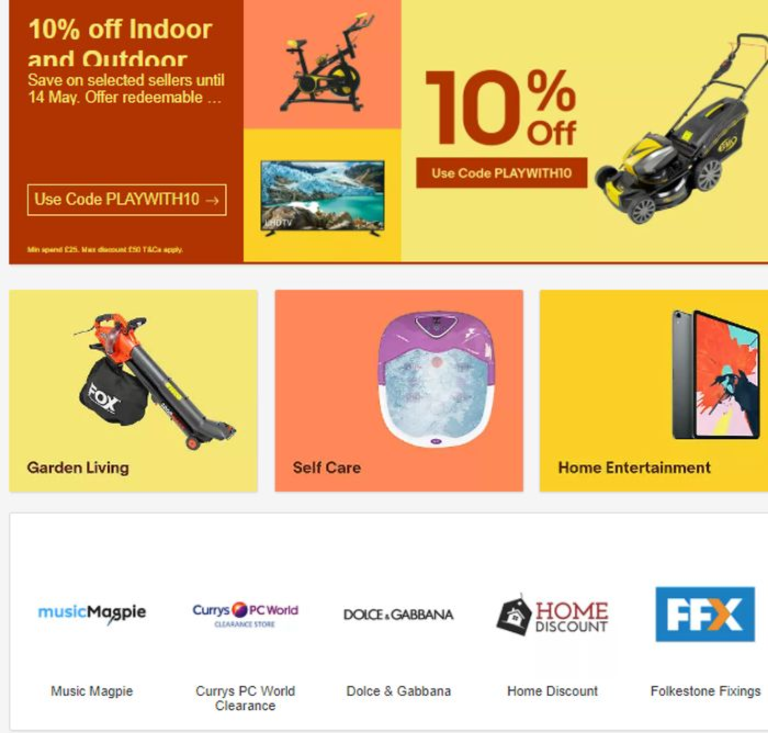 10% Off Indoor And Outdoor Favourites At EBAY!! *Redeemable 3 Times Too!