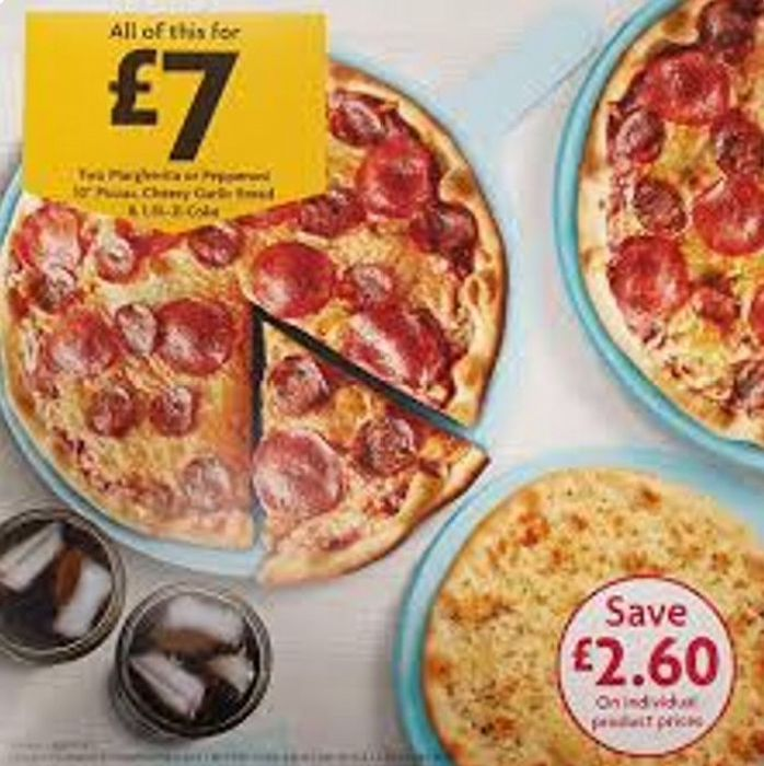 """£7 Pizza Meal Deal Two 10"""" Pizzas, One 10"""" Garlic Bread & a Bottle of Coke"""