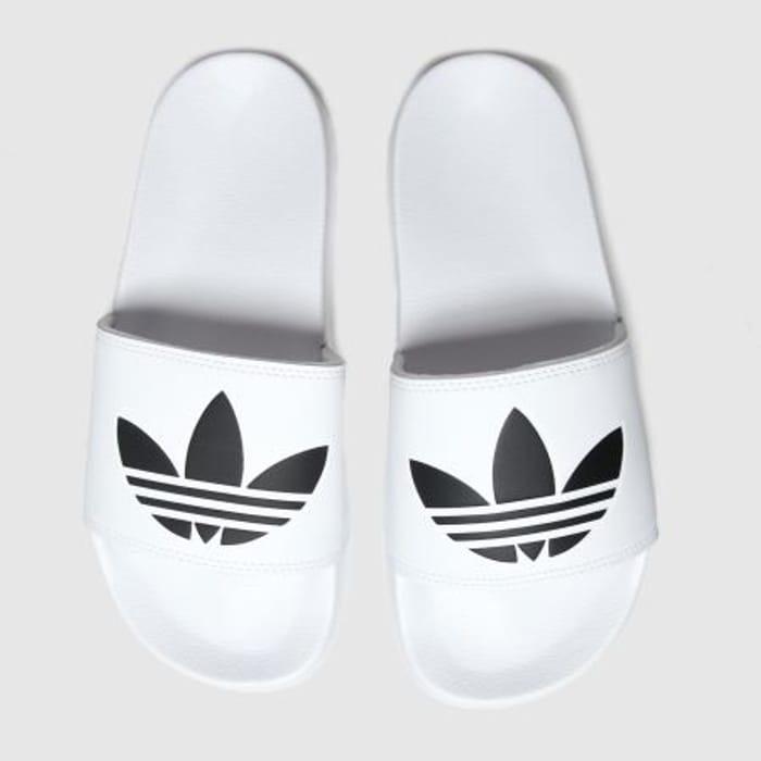 Adidas White & Black Adilette Lite Slide Sandals