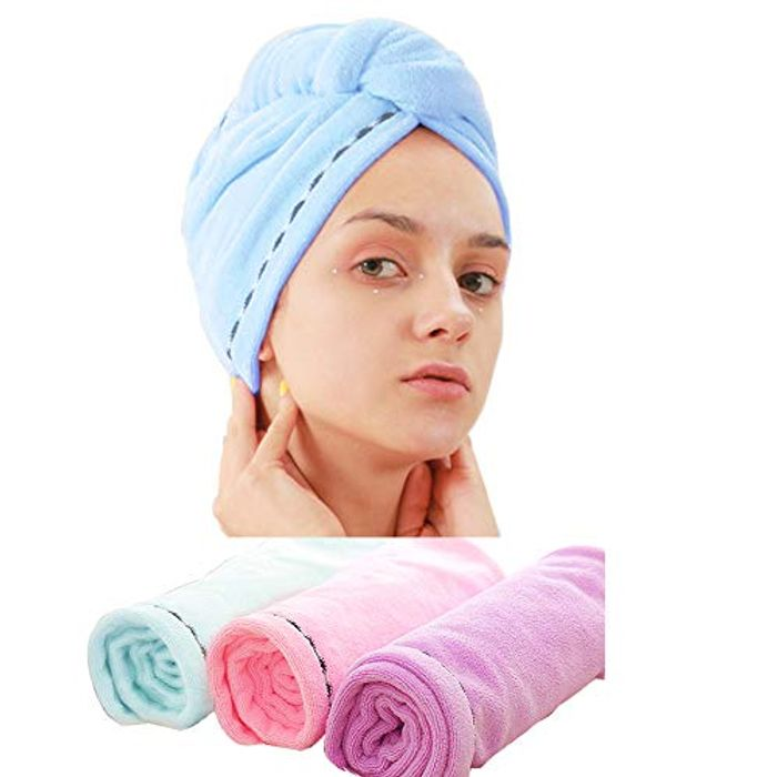 Cheap 3 Pack Microfiber Hair Towel Wrap - Only £9.49!