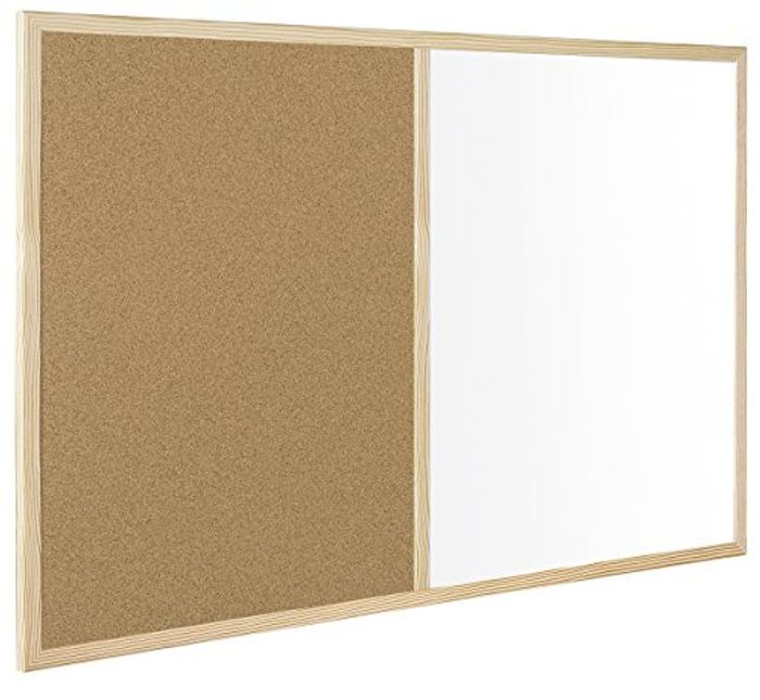 Bi-Office Budget Wood Frame Combination Board, Cork and Whiteboard