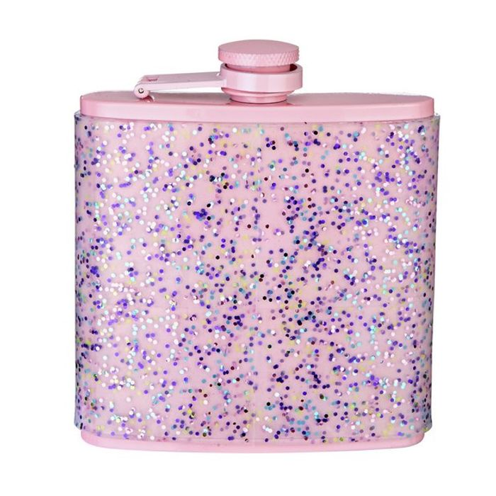 Best Price! Doin It for the Gram Hip Flask with Silicone Glitter Wrap