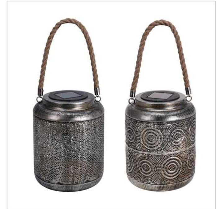 Ellister Antique Silver Solar Lantern