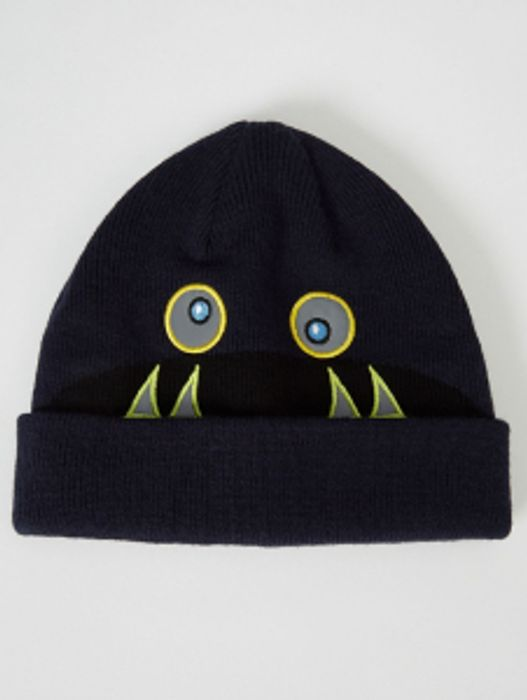 Navy Reflective Detail Monster Beanie Hat