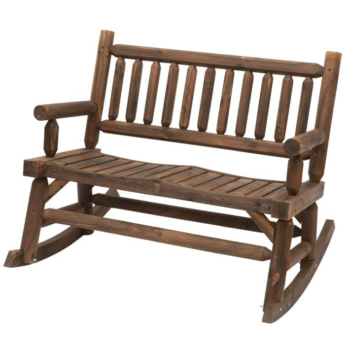 *SAVE £22* Outsunny 2-Seat Rocking Bench Wood Frame Rough-Cut Log Loveseat