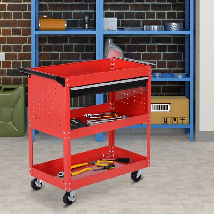 Cheap DURHAND 3-Tier Tool Trolley, Steel-Red Save £51!