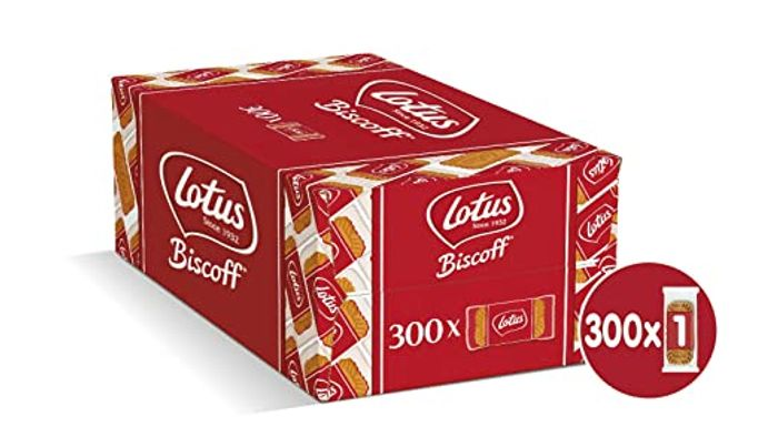 Lotus Biscoff Original Caramelised Single Biscuits (Pack of 300 - Catering Size)