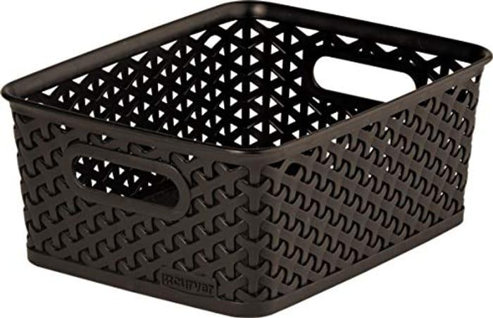 Curver My Style Medium Rectangular Storage Basket, Dark Brown, 13 Litre