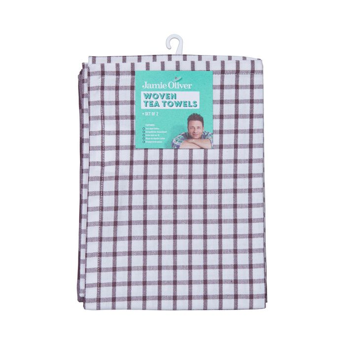 Jamie Oliver 2 Pack Woven Tea Towels, Only £5.00!