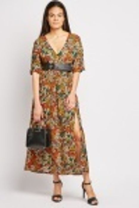 Cut out Sleeve Printed Dress