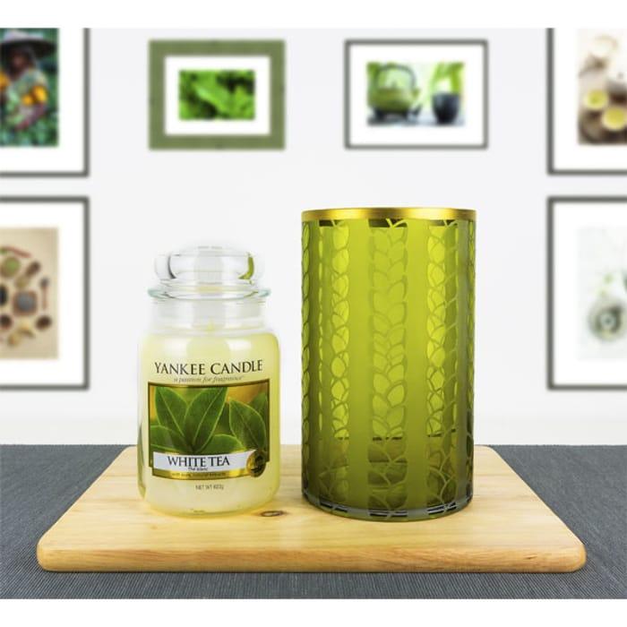 Yankee Candle WHITE TEA CLASSIC LARGE JAR & MAIZE SLEEVE HOLDER