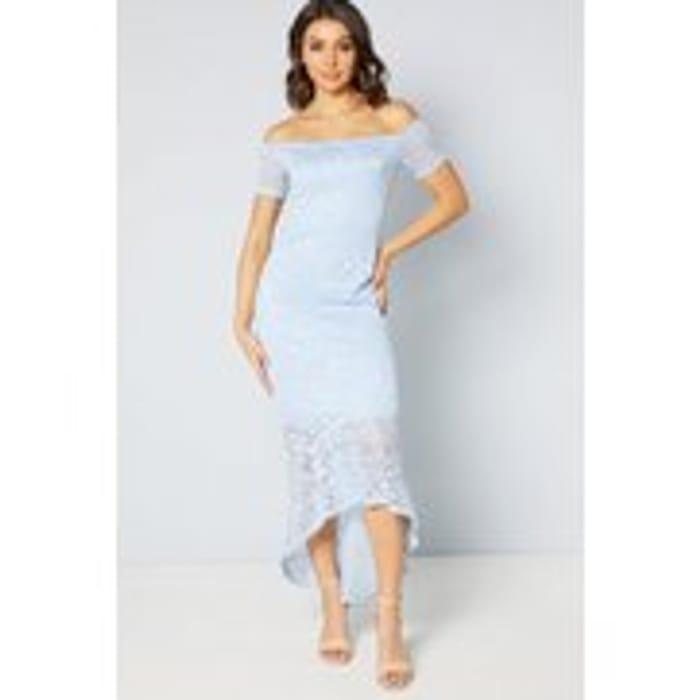 Ice Blue Lace Fishtail Dress