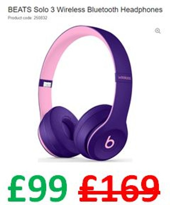 SAVE £70 - BEATS Solo 3 Wireless Bluetooth Headphones - Pop Violet
