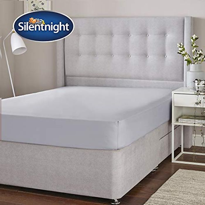 Silentnight Cotton Rich Fitted Sheet, Silver, King