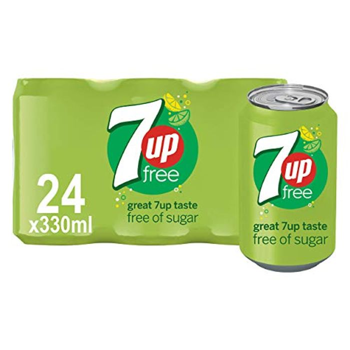 7UP Free Sparkling Lemon and Lime Drink Cans, 330ml (Pack of 24)