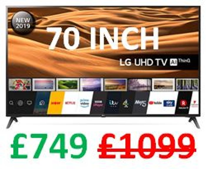 SAVE £350. LG 70 Inch UHD 4K HDR Smart LED TV with Freeview Play LG 70UM7100PLA