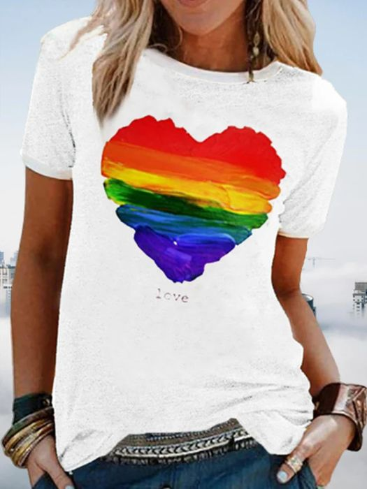 Women White Casual T-Shirts plus Size Short Sleeve Printed T-Shirts