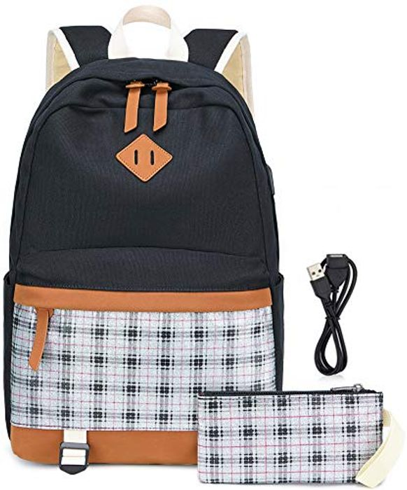 Deal Stack! Canvas Backpack School Bags Set