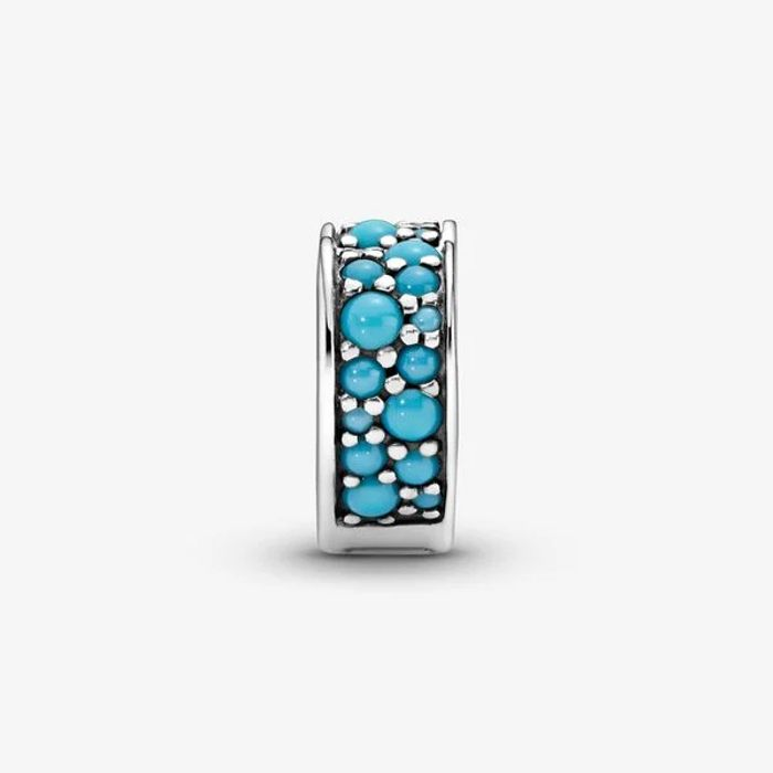 Pandora Blue Pave Heart Clip Charm