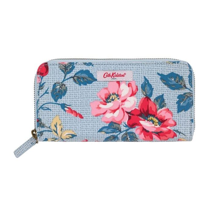 Cath KidstonBlue Pembroke Rose Continental Zip Wallet