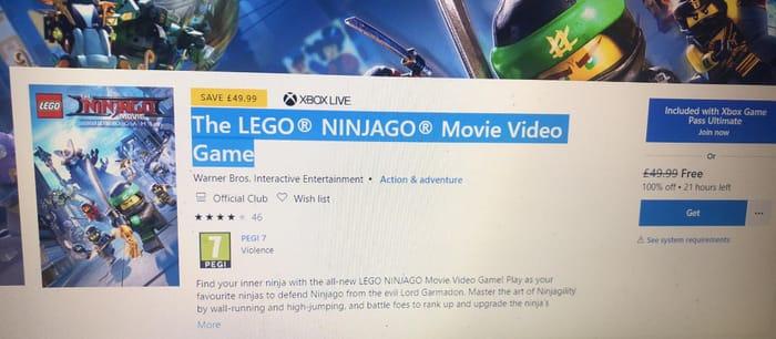 Free : Xbox One + Playstation The LEGO NINJAGO Movie Video Game