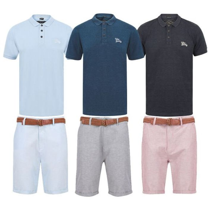 Men's Chino Shorts with Belt + Polo Shirt for £20