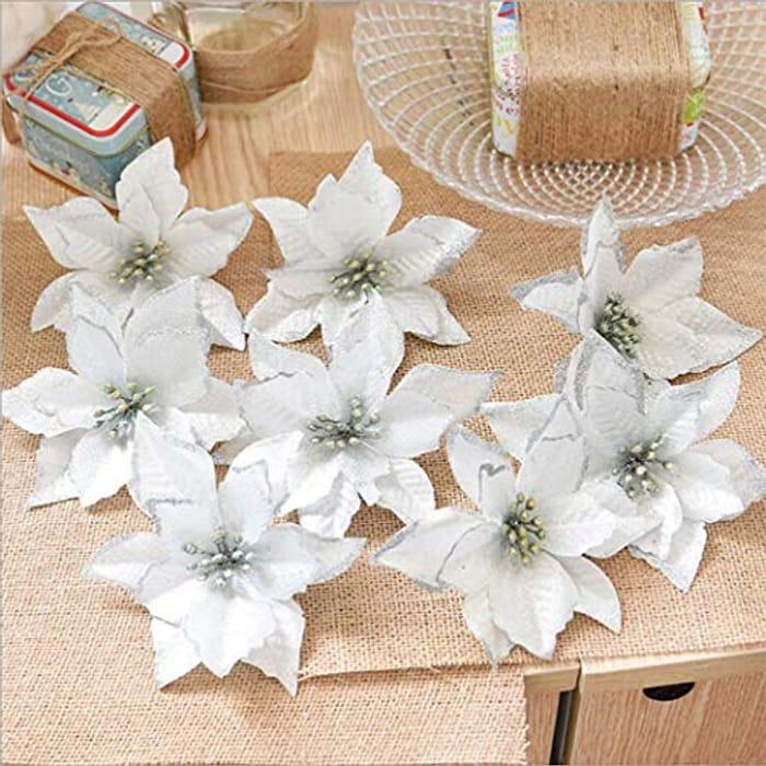 Best Price! 8 PCS Glitter Artificial Flowers for Wedding Festival Decor Ornament
