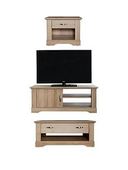 Cornwall 3 Piece Package TV Unit, Coffee Table and Lamp Table