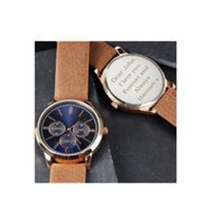 Personalised Mens Rose Gold Watch with Tan Strap