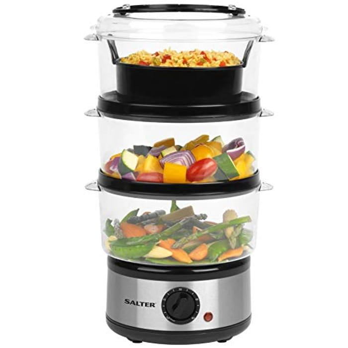 Salter EK2726 Healthy Cooking 3-Tier Food Rice Meat Vegetable Steamer,
