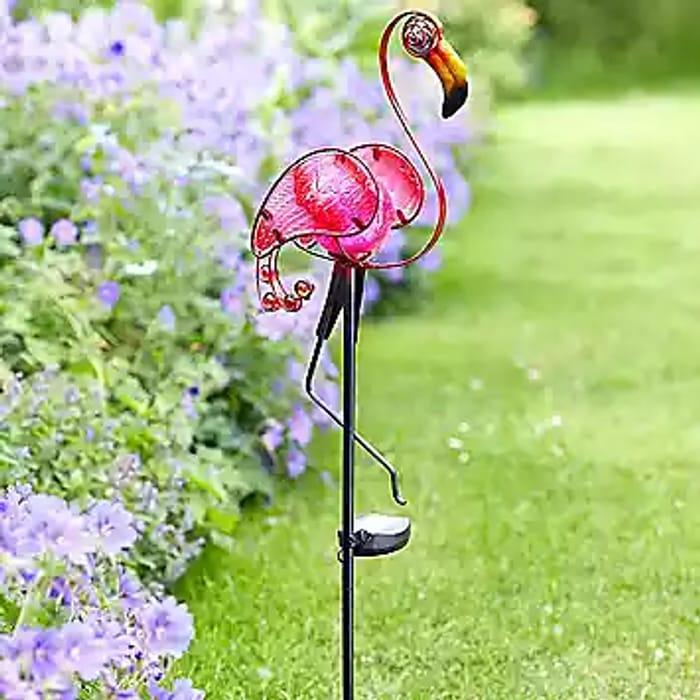 Solar Powered Hand Painted Glass Flamingo Stake Light