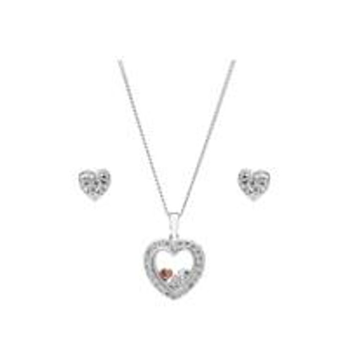 Sterling Silver CZ Necklace and Earrings Set