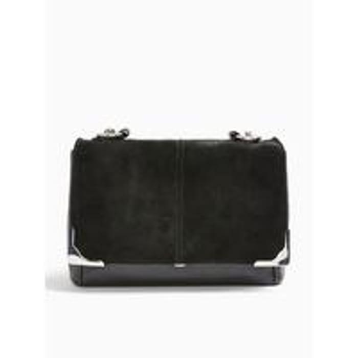 Topshop Lulu Suede Shoulder Bag - Black