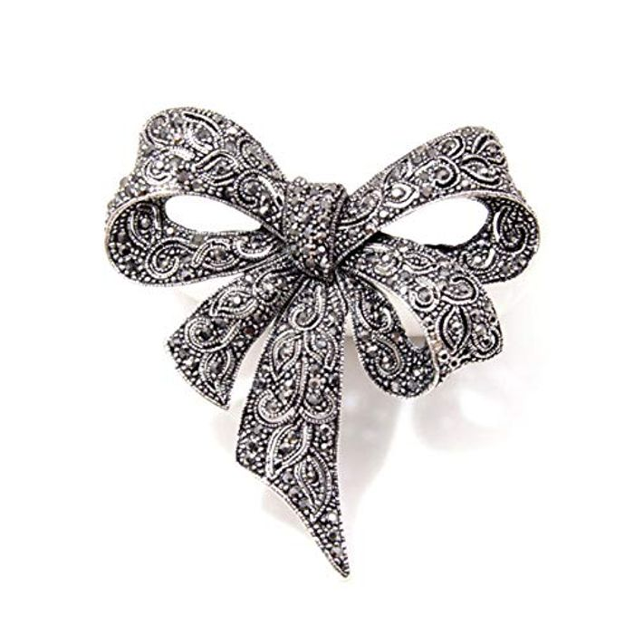 EJY Antique Silver Crystal Bow Knot Brooches - Only £2!