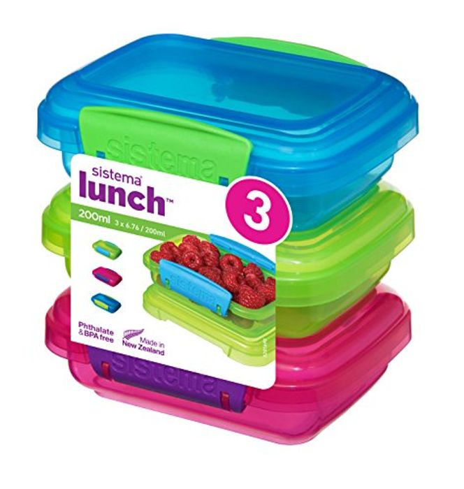 Sistema Lunch Food Storage Containers with Clips 200 Ml Pack of 3