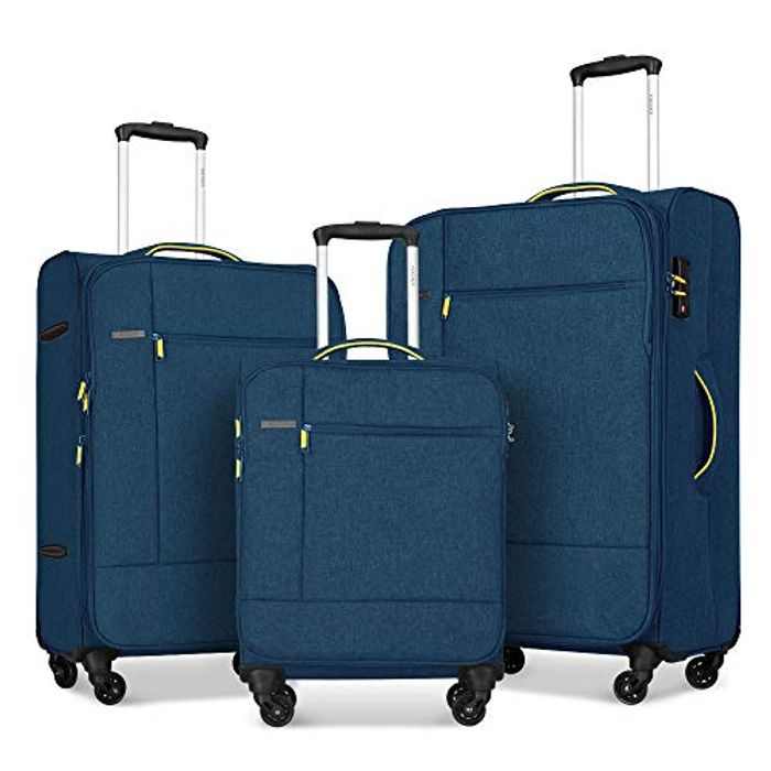 Price Drop! FOCHIER 3 PCS Set Softshell Luggage Spinner Suitecase,Blue