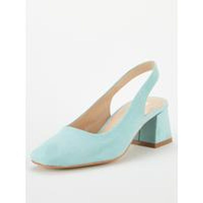 V by Very Dana Square Toe Block Heel Slingback - Mint