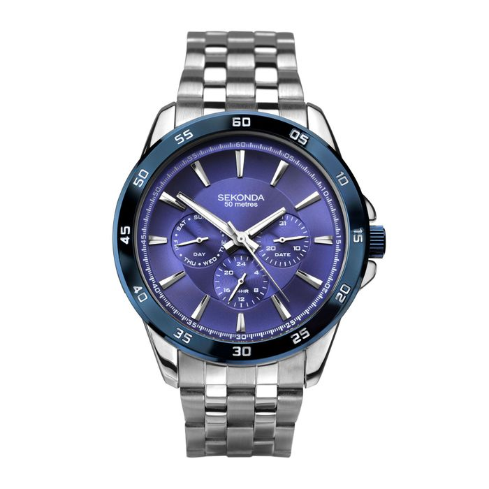 Sekonda - Men's Silver Blue Dial Bracelet Watch