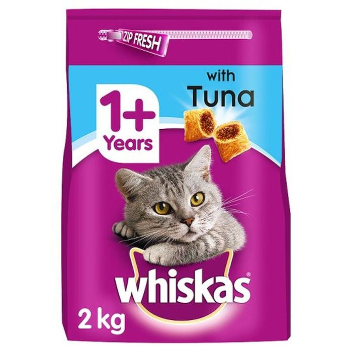 Whiskas Adult Cat Food with Tuna Tasty Filled Pockets (4 X 2kg Bags)