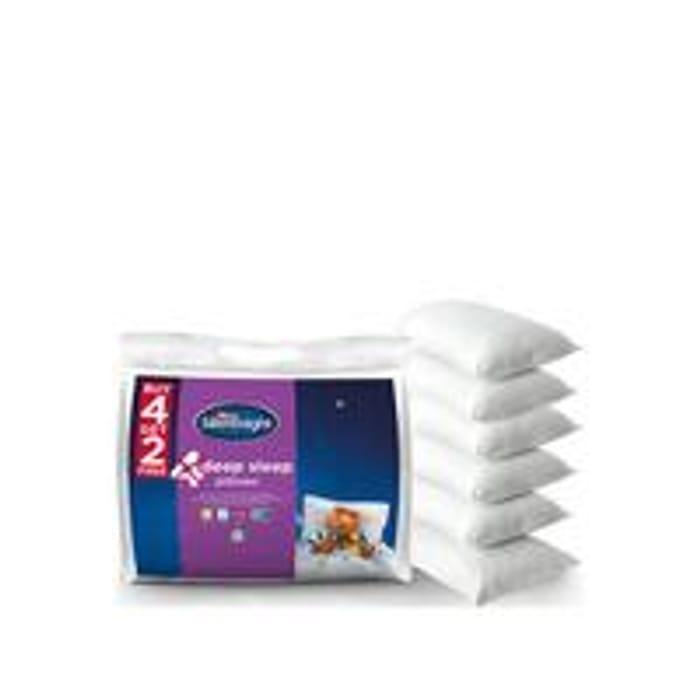 Silentnight Deep Sleep Pillows 4 + 2 Extra Free