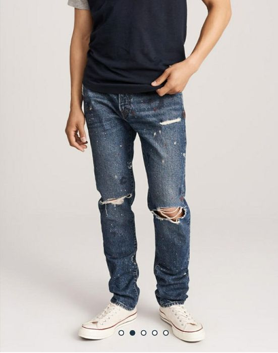 Ripped Athletic Skinny Jeans