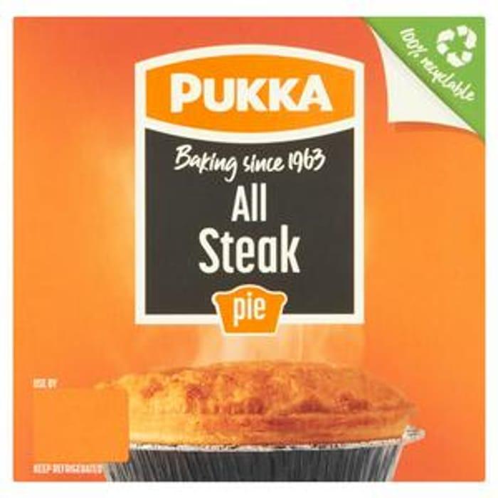 Pukka Pie (All Steak/ Chicken & Mushroom / Steak & Kidney 43%off@ Sainsbury's