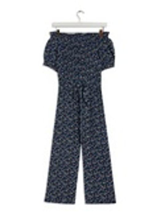 Navy Ditsy Print Bardot Jumpsuit