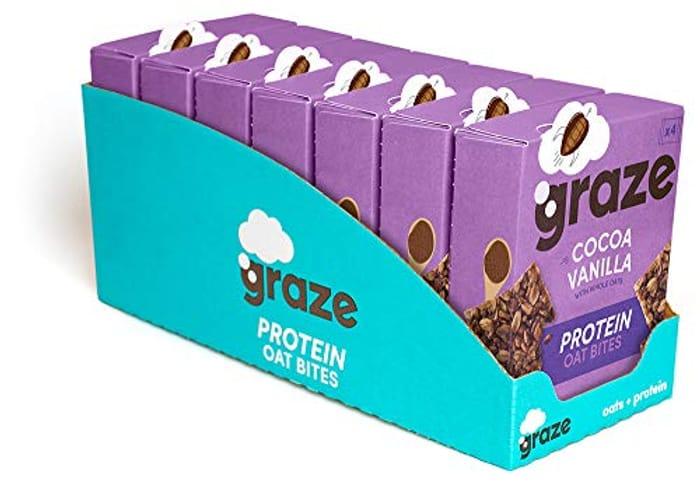Graze Cocoa Vanilla Protein Oat Bites (28 Snacks - 7 Packs of 4)