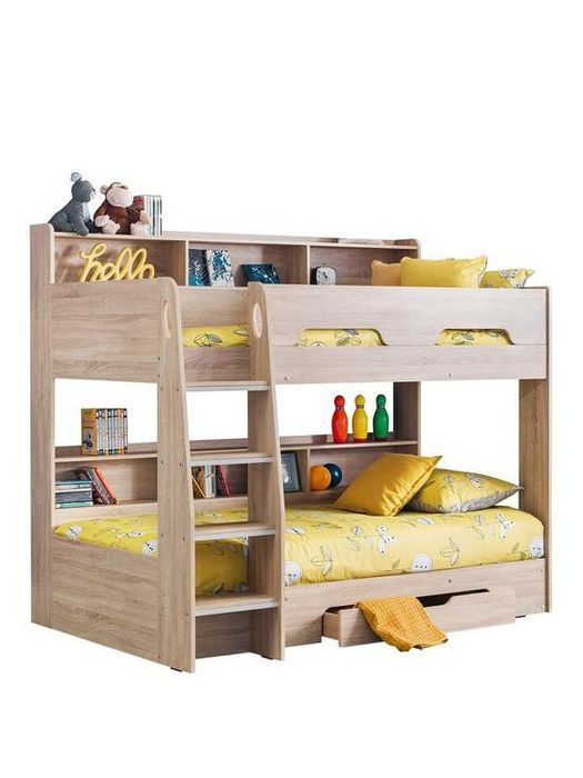 *SAVE £60* Julian Bowen Riley Bunk Bed with Shelves and Storage - Oak Effect
