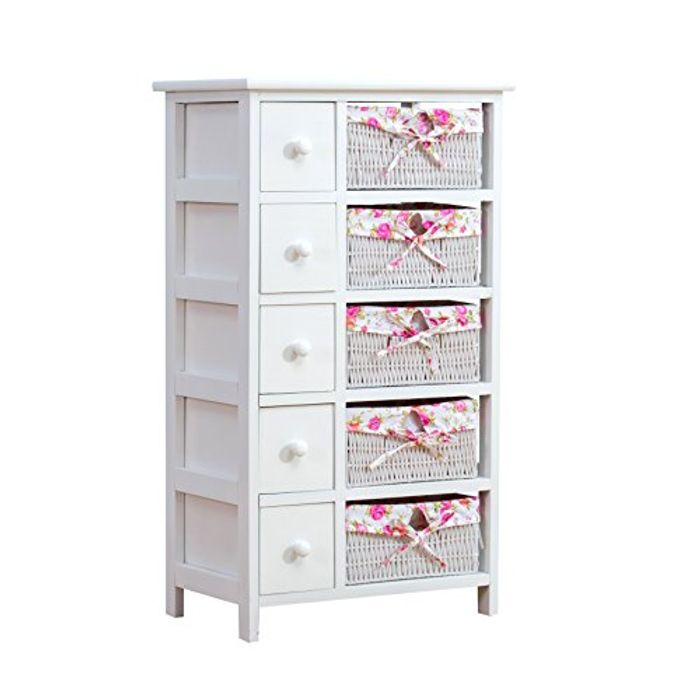 White 5-Layer Cabinet Drawer Chest with Floral Wicker Baskets