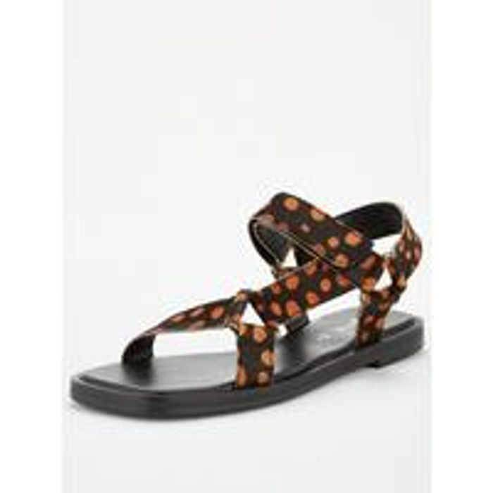 V by Very Helix Leather Square Toe Trekker Sandals - Black